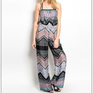 Pants - Black Multi Colored Bohemian Style Jumpsuit